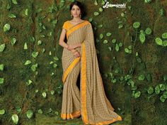 Buy this Exclusive Beige Chiffon Stone Work Saree with Satin Silk Yellow Colour Blouse along with Satin Silk Printed Lace Border Online from Laxmipati.com in USA, UK, Canada, Pakistan, SriLanka, Bangladesh, Nepal, India etc. Shop Now! 100% genuine products guaranteed. Limited Stock! #Catalogue #SURMAI Price - Rs. 1969.00  #Sarees #ReadyToWear #OccasionWear #Ethnicwear #FestivalSarees #Fashion #Fashionista #Couture #LaxmipatiSaree #Autu