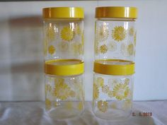 vintage corning glass container jars yellow by BellasShabbySalvage, $15.99 Great for adding a little sunshine in your life!!!