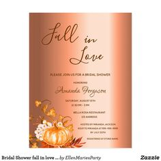 Shop Bridal Shower fall in love copper invitation Postcard created by EllenMariesParty. Personalize it with photos & text or purchase as is! Bridal Shower Invitations, Custom Invitations, Party Invitations, Simple Bridal Shower, Bridal Showers, Fall Pumpkins, Postcard Size, Falling In Love, Paper Texture