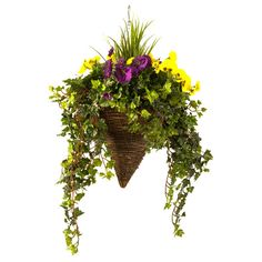 Artificial Hanging Basket,  Pansy & Ivy, Double Colour, Cone