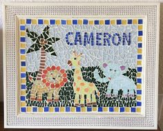 Mosaic picture for the new baby. By Novak McMahon how lovely! Mosaic Pictures, Mosaic Projects, Mosaics, New Baby Products, Kids Rugs, Quilts, Blanket, Big, Kid Friendly Rugs