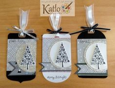 hand crafted Festival of Trees Gift Tags .... shades of gray ... sophisticated look ... Stampin' Up!
