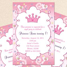 Free princess birthday party invitation templates free invitation personalized royal princess girl birthday party baby shower invitations printable or printed crown pink custom via etsy filmwisefo Image collections