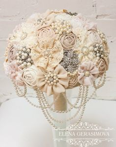Vintage Lace Ivory Wedding Brooch Bouquet / http://www.deerpearlflowers.com/bling-brooch-wedding-bouquets/2/