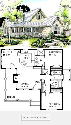 Country Style House Plan - 2 Beds 2.00 Baths 1065 Sq/Ft