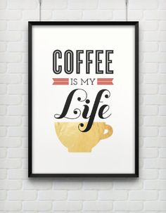 Typography Print, Quote Print, Coffee Poster, Retro Inspired,Black, Gold, Coffee Lovers, Brown, Orange, Wall Decor - Coffee is Life (12x18). $40.00, via Etsy.