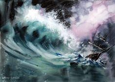 acuarela barco en la tormenta (Imagen JPEG, 2048 × 1462 píxeles)