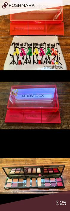 Smashbox Light It Up 3 Mini Palettes with Pouch Smashbox Light It Up 3 Mini Palettes with Smashbox Pouch   Product is new, nothing has been used or swatched.   Smashbox Photo Op Eye Shadow Total Net Weight 0.10oz/3.0g • Vanilla • Flamingo • Russet • Totally Nude • Amethyst • Dark Cocoa   Smashbox Step-By-Step Contour Palette Total Net Weight 0.14oz/4.20g • Contour • Bronze • Highlight  Smashbox Be Legendary Lipstick Total Net Weight 0.08oz/2.4g • Cognac • Pretty Social • Inspiration • First…