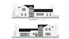 This Project includes the demolition of an existing dwellinghouse and construction of a new dwelling, garage, new driveway and all ancillary services. Old School House, Modern House Design, Building A House, Old Things, Garage, Floor Plans, Construction, Carport Garage, Building