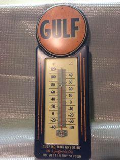 Gulf No-nox Gasoline and Gulf Pride Oil Thermometer