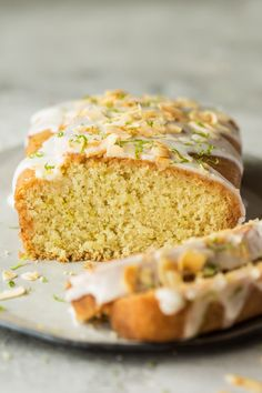lime drizzle cake cross section