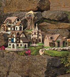 Miniature Fairy Village Church, Tavern, and other buildings