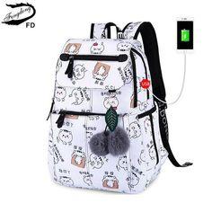FengDong fashion school backpack for girls school bags new arrival 2018  children backpacks kids cute USB bag schoolbag bookbag 8fd63f9c68