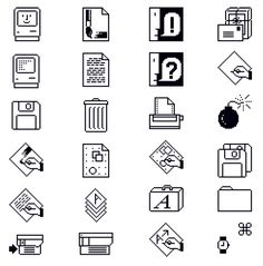 """Susan Kare, Macintosh Icons, Apple Computer Inc. USA """"Kare's trash can… Pixel Art, Icon Design, Web Design, Flat Design, Folder Icon, Maker Culture, Moving To California, Apple New, Old Computers"""