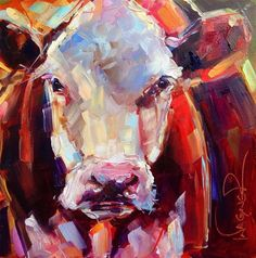 """Daily Paintworks - """"CONTEMPORARY COW PAINTING in O..."""" by Olga Wagner"""