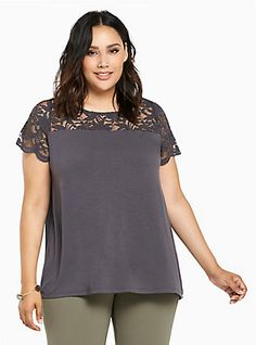 Plus Size Lace Inset Tee,