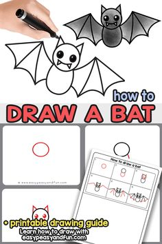 How to draw a bat - a step by step bat guided drawing tutorial Easy Halloween Drawings, Fall Drawings, Easy Drawings For Kids, Drawing For Kids, Painting For Kids, Halloween Crafts, Kid Drawings, Halloween Decorations, Bats For Kids