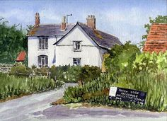 Ancient Art Print featuring the painting Cottages At Binsey. Nr Oxford by Mike Lester