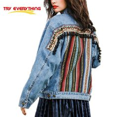 ethnic denim embroidery tassel jacket women 2017 spring autumn loose jeans jacket female coat Try everything #Affiliate