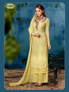 Shonaya Yellow Colour Chiffon Embroidery Semi Stitched salwar Suit