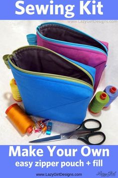 The perfect easy zipper pouch to hold cords and chargers. Plus other quick and easy sewing projects to help keep you organized. Make them for gifts and stocking stuffers, too. She used scraps from other projects or pre-cuts she had on hand. Quick gifts for kids, guys, and friends. Bendy Bag sewing pattern by Lazy Girl Designs #Zipper #ZipperPouch #ZipperBag #SmallBag #GadgetBag #Sewing