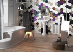 The uneven surface and glossy glaze of these hexagonal tiles give a truly handcrafted look. Walls and floors can be customised by combining a large range of colours to suit any interior design scheme Contemporary Bathroom Inspiration, Tiles Direct, Ideal Bathrooms, Building Contractors, Stone Cladding, Hexagon Tiles, Brick Flooring, Ceramic Wall Tiles, Ideas