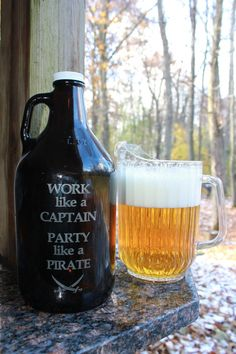 """Growler custom growler engraved growler beer by withluvdesign, $20.00. """"Work like a Captain, Party like a Pirate"""""""