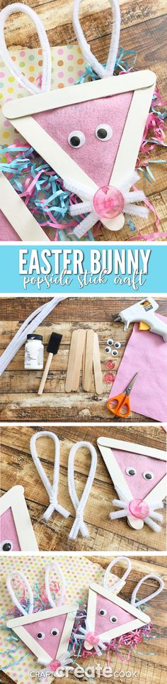 This Easy Easter Bunny Popsicle Stick Craft For Kids will be the perfect addition to the Easter Chick Popsicle Stick Craf! via @CraftCreatCook1