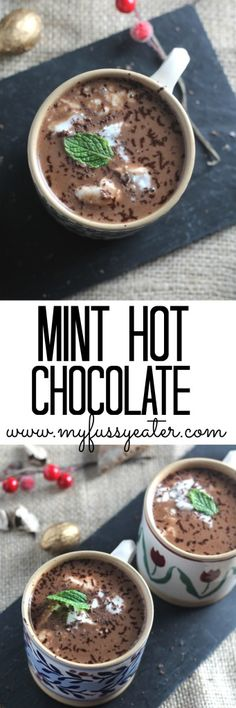 A quick and simple hot chocolate recipe, made with almond and coconut milk and spiked with mint. The ultimate in winter comfort drinks.