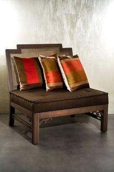 Not a big fan of the colour but the design has merit. Asian Furniture, Chinese Furniture, Sofa Furniture, Furniture Design, Rattan Armchair, Sofa Chair, Armless Chair, Carpentry And Joinery, Beautiful Sofas