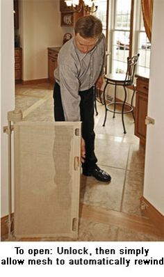 Retract-A-Gate ˜ How to Use - Retractable Safety Gate Users Guide, Retractable Baby Gate, Retractable Dog Gate or Retractable Pet Gate. An easy to use wide retractable safety gate for indoors or outdoors and certified for use at the top of stairs.