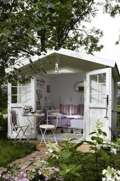 We never thought we'd say this, but she-sheds are right at the top of our dream home wish list. shed design shed diy shed ideas shed organization shed plans Garden Cottage, Home And Garden, Summer House Garden, Outdoor Rooms, Outdoor Living, Outdoor Lounge, Shed Interior, Interior Garden, Interior Ideas