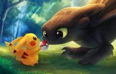 Croquemou et pikachu