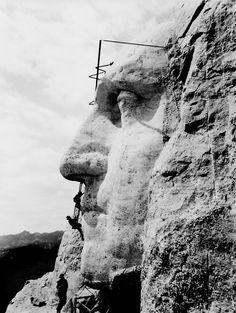 Construction at Mount Rushmore of George Washington's likeness, Black Hills, South Dakota, USA, ca. 1932