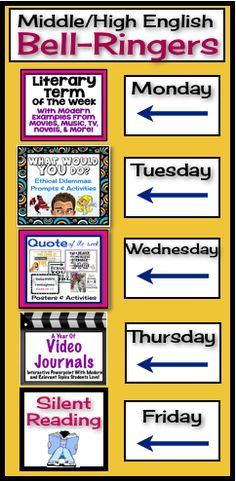 Begin each of your middle or high school English classes with these daily bell-ringer routines! This comprehensive FULL YEAR resource includes everything you need to start each class off with an engaging activity! All you have to do is choose the day of the week for each, and your planning is complete. #bellringer #english #video #teacher #quotes #literarydevices
