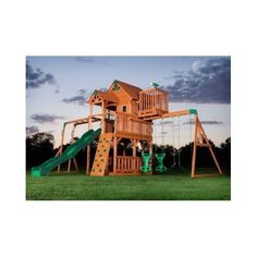 Outdoor Swing Set Kit Cedar Wood Fort Playground Slide Monkey Bars Clubhouse  1875