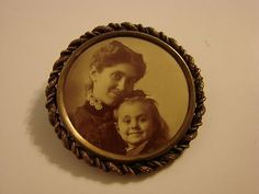Antique Victorian Edwardian Mourning Pin Brooch Photo Mother and Child | eBay