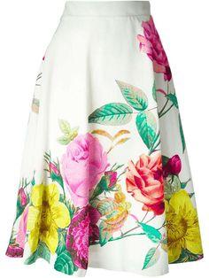 P.A.R.O.S.H. | high waisted flower print skirt #PAROSH #skirt