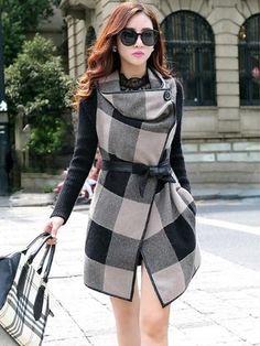 Stylish Suede Plaid Overcoat Overcoats from fashionmia.com
