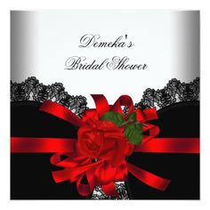 Red Rose Black Lace White Silver Party Card