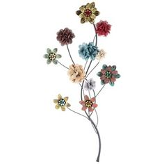 When you combine the beauty of Mother Nature with rustic appeal, the result is this beautiful Black & Multi Color Metal Floral Stem Wall Decor! This gorgeous mixed-media accent features a twisted and curved black stem.    Rusty metal flowers in shades of red, yellow, green, turquoise and teal add distressed elements, while ruffled fabric flowers in tan, blue and brown and frayed-edge fabric flowers in red, natural and gray add even more texture, dimension, depth and visual interest. ...