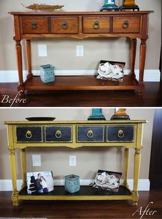 DIY Sofa Table Makeover - Mama Say What?! Mustard DIY Chalk Paint
