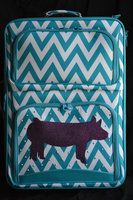 Suitcases available in Zebra, Demask, Camo, Chevron, Polka Dot, and Aztec Prints. We can put a steer, heifer, lamb, goat, chicken, horse, pig, or FFA on the suitcases and in the following colors: Pink Glitter, Green Glitter, Royal Blue Glitter, Turquoise Glitter, Aqua Glitter, Purple Glitter, Gold Glitter, Silver Glitter, Iridescent Glitter, Black Glitter, and Orange Felt. - Cajun Bling Livestock Luggage