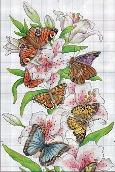 This Pin was discovered by Mar Butterfly Cross Stitch, Cross Stitch Bird, Cross Stitch Borders, Cross Stitch Animals, Cross Stitch Flowers, Cross Stitch Charts, Cross Stitch Designs, Cross Stitching, Cross Stitch Embroidery