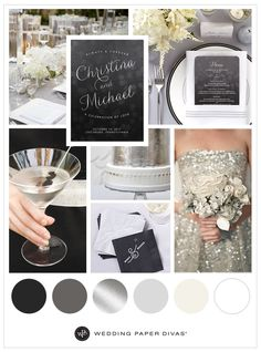 This silver and grey wedding inspiration uses a chic ombre color palette to complete this look. This color range goes perfectly with black or any color.