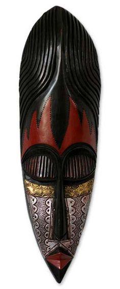 Nigerian wood mask, 'Fulani Maiden' by NOVICA