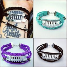 These cute Jeep leather bracelets are perfect for the modern day off roading girl! PLEASE READ BELOW BEFORE PLACING ORDER. Please choose your grill type and color first, then click add to cart. Come back to this listing then choose your charms you like, add to cart..etc. CHARMS ARE NOT SOLD SEPARATELY Each comes with 1 row of braided suede cord, and 1 row of linked cord with hex nuts (just like the pink one in the picture) . If you want the 3rd extra cord with the hex nuts on it separately…