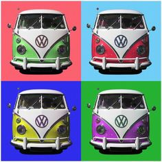 Warhol inspired VW van popart poster, this is modern retro popart. Hippie Party, Hippie Peace, Vw Camper, Graphic Design Posters, Andy Warhol, Pop Art, Vibrant Colors, Art Prints, Volkswagen