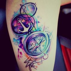 Water Colore Anchor n Compass Tattoo Design   Tattooshunt.