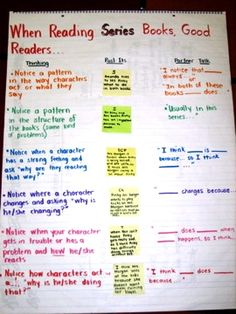 chart from Reading and Writing project for reading characters in a series